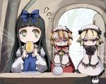 bandage bandaid black_hair blonde_hair blue_eyes bread bread_in_mouth bruise eating food gatau honey injury luna_child orange_hair red_eyes star_sapphire sunny_milk touhou wings