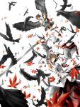 bad_id bird black_hair black_wings crow detached_sleeves geta hat highres inubashiri_momiji irena moyashisan red_eyes shameimaru_aya short_hair silver_hair skirt sword tengu-geta tokin_hat touhou weapon wings wolf_ears