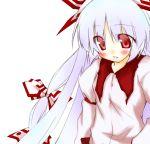 blush bow fujiwara_no_mokou hair_bow hair_ribbon lips long_sleeves mizuno_minato red_eyes ribbon shirt silver_hair simple_background solo touhou