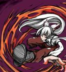 bow fire foreshortening fujiwara_no_mokou hair_bow hair_ribbon highres long_hair outstretched_arm outstretched_hand pants red_eyes ribbon serious shirt shoes silver_hair solo suspenders touhou uousa white_shirt
