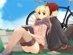 back_to_back bicycle blonde_hair book bracelet brown_hair chain chains digital_media_player earphones grass green_eyes headphones hoodie jewelry loafers long_hair mirk mp3_player scarf shared_earphones shirt shoes shorts skirt sleeves_rolled_up smile thigh-highs thighhighs zettai_ryouiki