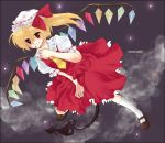 bow cloud clouds dress flandre_scarlet flying hair_bow hat hat_ribbon kneehighs koutarou_(artist) legs mary_janes nail_polish night night_sky red_eyes ribbon shoes short_hair short_sleeves side_ponytail sky smile socks solo touhou wings