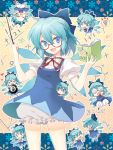 ⑨ >_< ? @_@ ahoge bespectacled bloomers blue_eyes blue_hair blush_stickers book bow cirno coke-bottle_glasses cuteg fang glasses graph hair_bow math short_hair touhou wings |_|