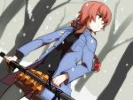 anti-tank_rifle boots braid coat darker_than_black green_eyes gun jewelry mackerel necklace pantyhose ptrd-41 red_hair redhead rifle sabo_(fuya_2) single_braid skirt sniper_rifle snow solo suou_pavlichenko tree weapon