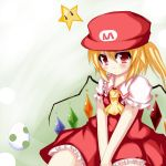 1girl ascot blush crossover egg flandre_scarlet hat mario_(series) ofukousu puffy_sleeves red_eyes short_sleeves side_ponytail simple_background skirt skirt_set star starman_(mario) super_mario_bros. touhou wings yoshi_egg