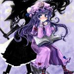 2girls blush book crescent hat hat_ribbon kirisame_marisa long_hair multiple_girls nanashii_(soregasisan) patchouli_knowledge purple_hair ribbon silhouette touhou violet_eyes witch_hat