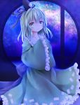 1girl blue_eyes bow collarbone dress furomaaju_(fromage) hands_in_sleeves hat highres looking_at_viewer milky_way night night_sky short_hair silver_hair sky smile soga_no_tojiko solo star_(sky) starry_sky tate_eboshi touhou window
