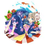 1girl blonde_hair blue_eyes feet fish flower japanese_clothes kimono mask minland4099 sandals short_hair simple_background smile solo toes water
