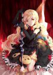 1girl :o blonde_hair bow doll dress elbow_gloves gloves imi_fumei lolita_fashion long_hair mayu_(vocaloid) piano_print stuffed_toy vocaloid yellow_eyes