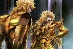 2boys armor blue_eyes joka_(night_gate) leo_aiolia long_hair multiple_boys saint_seiya scorpio_milo