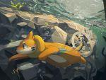 bubble buizel diving fur guodon no_humans pokemon pokemon_(creature) solo swimming underwater water