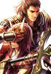 2boys armor brown_hair covering_eyes haru_(toyst) horns ishida_mitsunari_(sengoku_musou) male multiple_boys sakon_shima_(sengoku_musou) sengoku_musou sengoku_musou_3 weapon