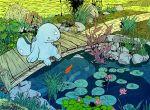 bridge flower hajimikimo lily_pad nature no_humans o_o pokemon pokemon_(creature) pond quagsire scenery sitting solo water
