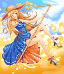 1girl akai_mosamosa bare_legs bare_shoulders blue_dress blue_eyes blue_sky breasts dress drinking_straw hat high_heels highres long_hair orange_hair orangina original personification pleated_dress polka_dot polka_dot_dress revision shoes sky socks sun_hat wink