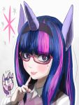 1girl animal_ears bespectacled blush eyelashes face fake_horns gashi-gashi glasses horn horse_ears lips long_hair multicolored_hair my_little_pony my_little_pony_friendship_is_magic personification pink_hair pony purple_hair red-framed_glasses semi-rimless_glasses solo streaked_hair sweater_vest twilight_sparkle under-rim_glasses unicorn v-neck violet_eyes