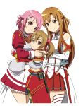 3girls asuna_(sao) breastplate brown_eyes brown_hair detached_sleeves fingerless_gloves gloves hug kitani_sai lisbeth long_hair multiple_girls pink_eyes pink_hair red_eyes short_hair silica sword_art_online thigh-highs yuuki_asuna