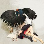 2girls barefoot fuwayu inubashiri_momiji lying multiple_girls on_back shameimaru_aya touhou wings yuri