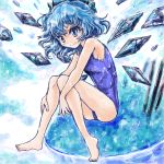 1girl blue_background blue_eyes blue_hair bow cirno hair_bow ice ice_wings nanashii_(soregasisan) one-piece_swimsuit ribbon school_swimsuit short_hair smile solo swimsuit touhou wings