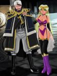 1boy 1girl bare_shoulders beard belt black_eyes boots breasts cape captain_future choker cleavage earrings elbow_gloves facial_hair garter_straps gloves green_hair jewelry mustache n'rala navel pointy_ears turban ul_quorn ultramarine veil yellow_eyes