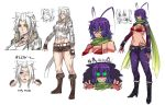 2girls :< :3 abs animal_ears antenna_hair belt bikini_top blue_eyes blue_hair blush boots bracelet braid breasts bridal_gauntlets camouflage cleavage cropped_jacket cross-laced_footwear detached_sleeves eyepatch fang fingerless_gloves genderswap gloves glowing glowing_eyes green_eyes grin heterochromia high_heels highres jewelry kha'zix knee_boots kuma_x lace-up_boots large_breasts league_of_legends long_hair lowleg lowleg_pants meowing midriff mound_of_venus multiple_girls nail_polish navel_piercing necklace pants paw_pose personification piercing rengar ring ringed_eyes rough scarf sharp_teeth shoes short_hair shorts smile spiked_bracelet spikes thong torn_clothes torn_pants underboob wristband yellow_eyes