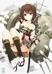 1girl blush breasts brown_eyes brown_hair cleavage highres hyuuga_(kantai_collection) kantai_collection katana looking_at_viewer orda personification sandals short_hair solo sword tabi torn_clothes weapon white_legwear