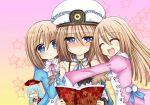 4girls blanc blue_eyes blush book brown_hair choujigen_game_neptune glasses hat highres multiple_girls nishizawa_mina open_mouth ram_(choujigen_game_neptune) rom_(choujigen_game_neptune) short_hair siblings sisters smile zero-theme