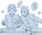 2boys accidental_touch blush book earphones earphones gakuran heart male monochrome multiple_boys open_mouth original pencil school_uniform short_hair surprised thought_bubble torte_(triggerhappy) yaoi