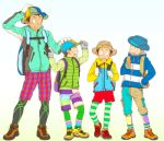 4boys backpack bag black_hair blush from_behind hat height_difference jacket leggings male multiple_boys original shoes short_hair shorts smile sneakers socks striped striped_legwear torte_(triggerhappy)