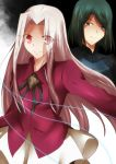2girls fate/zero fate_(series) green_eyes green_hair highres hisau_maiya irisviel_von_einzbern long_hair multiple_girls nusu77 pantyhose red_eyes short_hair white_hair