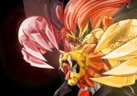 black_background bygddd5 claws fangs genesic_gaogaigar glowing green_eyes hell_and_heaven highres long_hair mecha no_humans simple_background solo super_robot wings yuusha_ou_gaogaigar_final yuusha_series