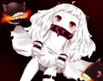 1girl ahoge covered_mouth dress dress_lift gradient gradient_background grey_panties horns kantai_collection looking_at_viewer mittens mound_of_venus northern_ocean_hime panties red_eyes sanome shinkaisei-kan side-tie_panties simple_background underwear white_dress white_hair white_skin