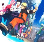1girl 3boys black_gloves black_hair blonde_hair book closed_eyes forehead_protector gloves green_eyes hairband haruno_sakura hatake_kakashi long_hair mask multiple_boys multiple_persona naruto naruto_shippuuden oba-min open_mouth perspective pink_hair short_hair silver_hair smile spiky_hair team7 uchiha_sasuke uzumaki_naruto wristband