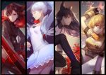 ahoge asukaziye black_hair blake_belladonna blonde_hair boots bow breasts cape cleavage fingerless_gloves gauntlets gloves jewelry long_hair multiple_girls necklace pantyhose ponytail rapier redhead ruby_rose rwby scythe short_hair smile sword violet_eyes weapon weiss_schnee white_hair yang_xiao_long yellow_eyes
