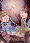 2girls akko_kagari book brown_hair fairy fantasy glasses hairband little_witch_academia lotte_yanson multiple_girls official_art open_mouth orange_hair yoshinari_you