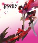 boots cape celsius cross flower grey_eyes highres pantyhose redhead ruby_rose rwby scythe short_hair weapon
