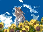 1boy casual diavolo enri2010 flower hat jojo_no_kimyou_na_bouken pink_hair solo summer sunflower t-shirt