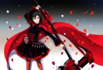 black_hair cape cross egoist_no_pierrot flower highres redhead rose ruby_rose rwby scythe short_hair weapon