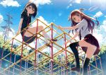 2girls absurdres ass black_hair black_legwear blush brown_hair climbing clouds from_below hair_ribbon highres jungle_gym kantoku kurumi_(kantoku) long_hair looking_at_viewer looking_back multiple_girls open_mouth original outdoors panties pantyshot plaid plaid_skirt playground pleated_skirt ribbon school_uniform shizuku_(kantoku) short_hair side_ponytail sitting skirt sky smile thighhighs twintails underwear upskirt violet_eyes white_panties