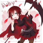 1girl belt black_eyes bullet cape character_name cross fang highres long_sleeves open_mouth pantyhose petals redhead rose_petals ruby_rose rwby scythe shan124680 short_hair signature skirt smile solo weapon