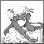 book crescent hat long_hair monochrome patchouli_knowledge satsumi simple_background solo touhou white_background