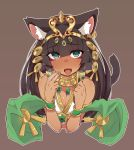 1girl animal_ears bastet_(p&d) black_hair breasts bust cat_ears cat_tail cleavage dark_skin egyptian fang green_eyes heart heart-shaped_pupils jewelry long_hair looking_at_viewer maze_(gochama_ze_gohan) open_mouth puzzle_&_dragons solo symbol-shaped_pupils tail