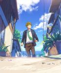 1boy blue_sky clenched_hands clouds free! from_below green_eyes green_hair hair_between_eyes house long_sleeves male open_clothes open_jacket outdoors pants running school_uniform sky solo tachibana_makoto zukki_(suzukio)