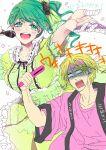 1boy 1girl bandages blonde_hair blush genderswap green_eyes green_hair idol kuroko_no_basuke long_hair microphone midorima_shintarou miyaji_kiyoshi short_hair tc531