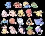 ._. :d :q ayuboo azurill baby_pokemon black_background blush_stickers bonsly castform caterpie chibi chingling cleffa commentary creatures_(company) drifloon elekid frown game_freak gen_1_pokemon gen_2_pokemon gen_3_pokemon gen_4_pokemon happiny horsea igglybuff magby mime_jr. nintendo no_humans omanyte open_mouth outline pichu pokemon pokemon_(creature) pokemon_dppt pokemon_gsc pokemon_rgby pokemon_rse simple_background smile snorunt surskit tongue trapinch vulpix