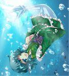 1girl alphes_(style) aqua_eyes aqua_hair fish_tail frills japanese_clothes jyuri_otoko kimono mermaid monster_girl parody reversed solo style_parody touhou underwater wakasagihime wink