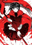 black_hair bullet cape cross dress grey_eyes ruby_rose rueflora rwby scythe short_hair weapon