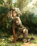 armor forest grey_eyes kneeling leaning_forward nature original realistic short_hair solo sword tan weapon