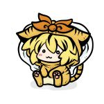 animal_costume blonde_hair chibi costume lowres tiger_costume tiger_print toramaru_shou touhou yanagi_(artist)