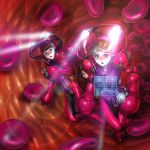 blood blood_cell fujiwara_hisashi glasses highres holographic_interface lens_flare minigirl multiple_girls science_fiction scifi spacesuit spotlight