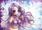 candy choker cute earrings emperpep fishnets jewelry lollipop long_hair midriff purple_eyes purple_hair solo swirl_lollipop traditional_media violet_eyes watercolor_(medium)